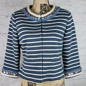 Boston Proper nautical style striped blazer sz 10
